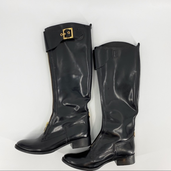 Tory Burch patent leather black riding boots